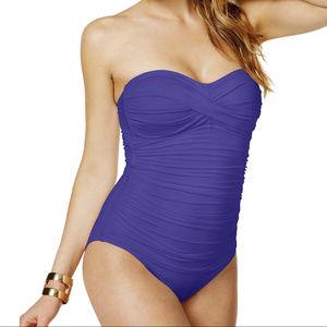 Twist Front Shirred Bandeau Swimsuit Iris NWT